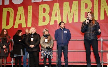 Bibbiano, la manifestazione della Lega in piazza. FOTO