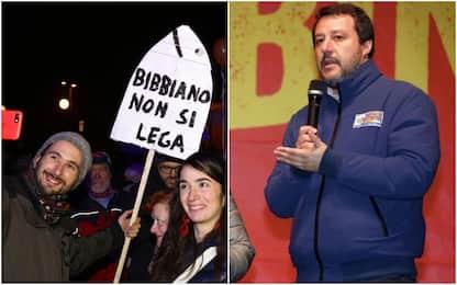 Elezioni Emilia-Romagna, Salvini e le Sardine a Bibbiano