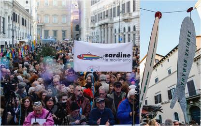La manifestazione delle Sardine a Roma. FOTO