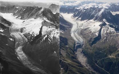 Monte Bianco, così sono cambiati i ghiacciai in un secolo. FOTO