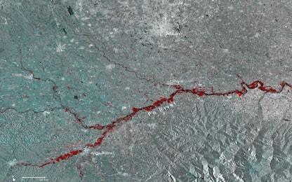 Alluvioni nel Nord Italia, in una foto dallo spazio sembrano 'ferite'