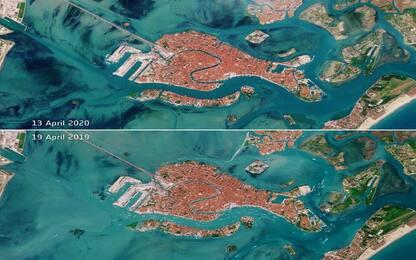 Venezia, dai satelliti un'immagine della laguna priva di imbarcazioni