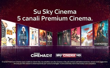 Su Sky Cinema 5 canali Premium Cinema senza costi aggiuntivi