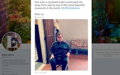 """Elton John visita gli Uffizi: """"Uno dei musei più belli del mondo"""""""