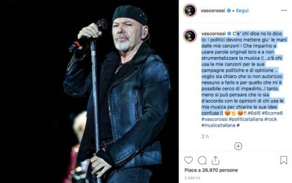 """Vasco Rossi: """"Politici, giù le mani dalle mie canzoni"""""""
