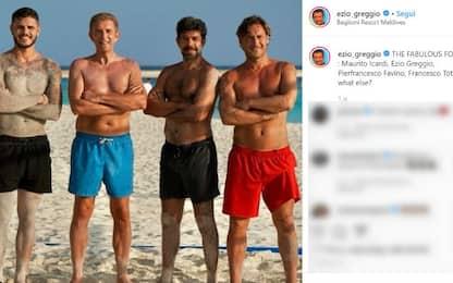 Greggio, Favino, Icardi e Totti: la foto alle Maldive diventa virale