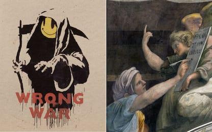 Banksy, la mostra a Roma: inedito duetto con Raffaello