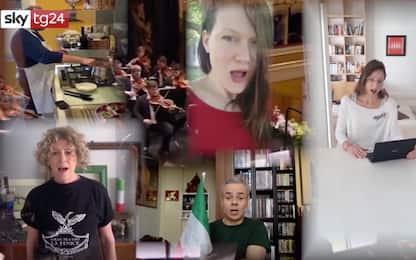 25 aprile, dipendenti del teatro La Fenice cantano l'Inno di Mameli