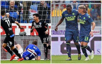 Serie A, Sampdoria-Empoli 1-2, Frosinone-Udinese 1-3: gol e highlights