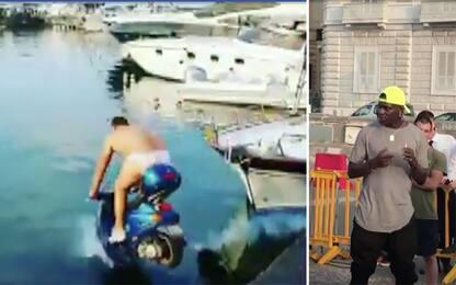 Balotelli, 2000 euro a un amico per buttarsi in mare in moto. VIDEO