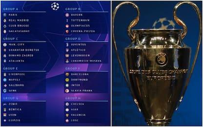Sorteggi Champions 2019-2020: tutti i gironi