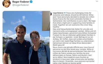 Coronavirus, Federer dona un milione di franchi alle famiglie svizzere